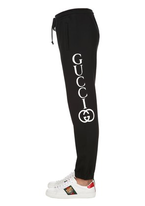 LOGO PRINTED COTTON SWEATPANTS