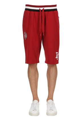 LOGO EMBROIDERED JERSEY SWEAT SHORTS