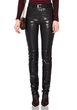 Saint Laurent Mid Rise Leather Pants in Black