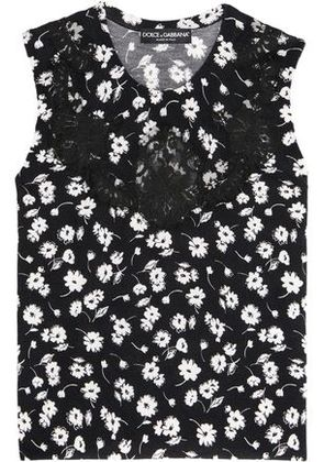 Dolce & Gabbana Woman Lace-paneled Floral-print Cashmere And Silk-blend Top Black Size 38
