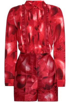 Valentino Woman Point D'esprit-trimmed Printed Silk-crepe And Jacquard Playsuit Red Size 40