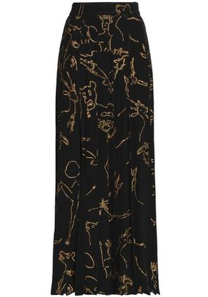 Valentino Woman Printed Silk Maxi Skirt Black Size 38