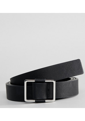 2d70bde5b9e ASOS DESIGN plus wedding smart faux leather slim belt in black with silver  box buckle -
