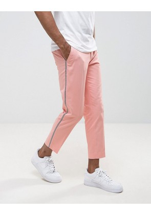 ASOS Skinny Smart Trousers with Tux Stripe in Pink - Pink