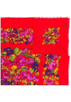 Gucci floral print scarf - Red