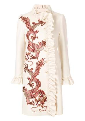 Gucci coat with embroidered dragons - Nude & Neutrals