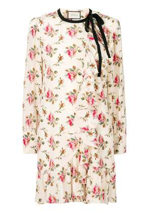 Gucci floral print frill trim dress - Nude & Neutrals