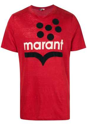 Isabel Marant logo appliqué T-shirt - Red
