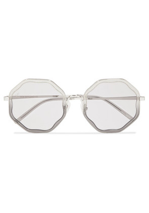 For Art's Sake - Smoky Round-frame Glittered Acetate And Silver-tone Sunglasses - Gray