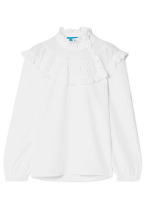 M.i.h Jeans - Emmanuelle Ruffled Swiss-dot Cotton-blend Blouse - White