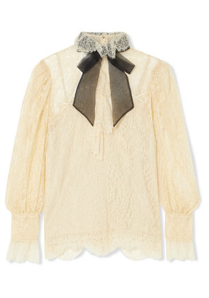 Gucci - Pussy-bow Lace Blouse - Ivory