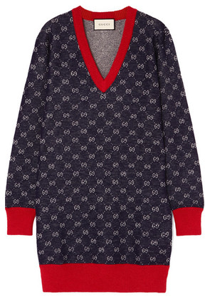 Gucci - Wool And Alpaca-blend Jacquard Dress - Navy