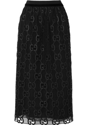Gucci - Velvet And Grosgrain-trimmed Macramé Lace Midi Skirt - Black