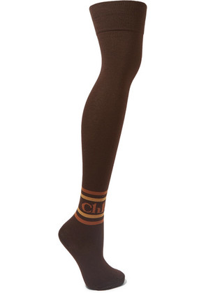 Chloé - Intarsia Cotton-blend Over-the-knee Socks - Brown