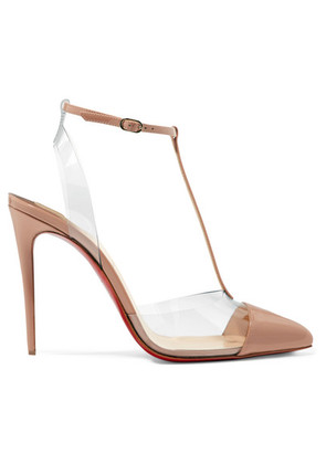 Christian Louboutin - Nosy 100 Patent-leather And Pvc Pumps - Neutral