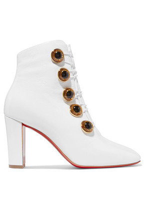 Christian Louboutin - Lady See 85 Patent Textured-leather Ankle Boots - White