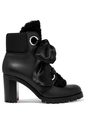 Christian Louboutin - Jenny From The Alps Shearling And Leather Ankle Boots - Black