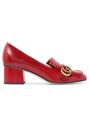 Gucci - Marmont Fringed Logo-embellished Leather Pumps - Red