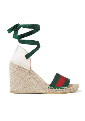 Gucci - Lilibeth Striped Grosgrain And Canvas Wedge Espadrilles - Emerald
