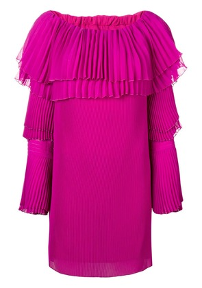 Capucci off-shoulder pleated sweater dress - Pink