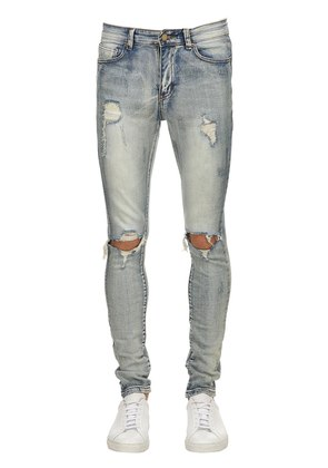LIGHT BLUE WASHED DESTROYED DENIM JEANS