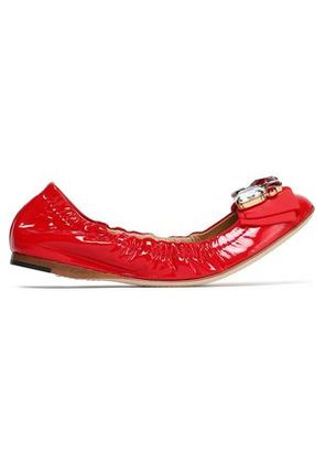 Dolce & Gabbana Woman Embellished Patent-leather Ballet Flats Red Size 35.5