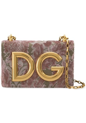 Dolce & Gabbana DG Girls velvet brocade shoulder bag - Pink