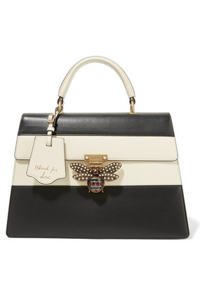 Gucci - Queen Margaret Large Embellished Two-tone Leather Tote - Black
