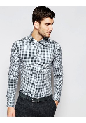 ASOS Skinny Shirt In Dark Green Gingham Check - Dark green