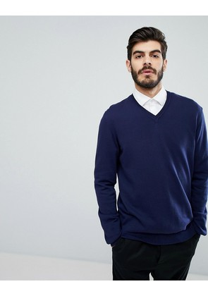 ASOS V-Neck Jumper In Navy - Navy