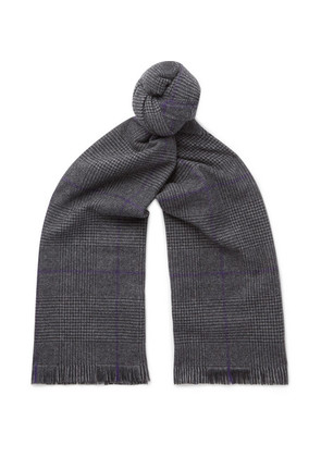 Fringed Prince Of Wales Checked Wool Scarf