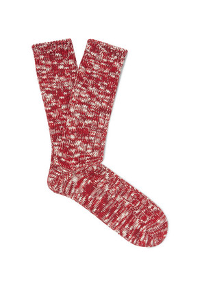 Anonymous Ism - Mélange Cotton-blend Socks - Red