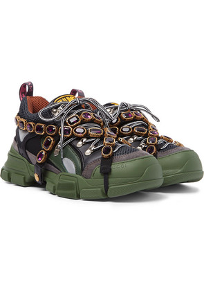 Flashtrek Embellished Suede, Leather And Mesh Sneakers
