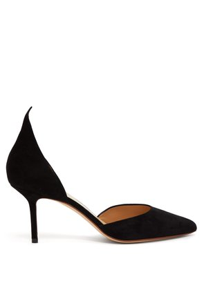 Pointed suede d'Orsay pumps