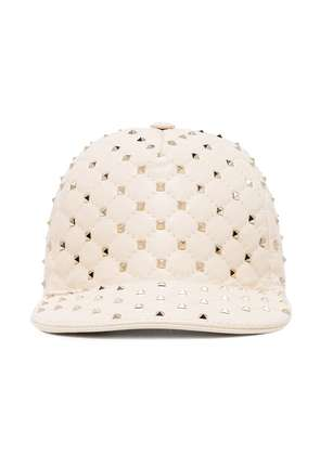 Valentino Cream Rockstud Leather Baseball Cap - Nude & Neutrals