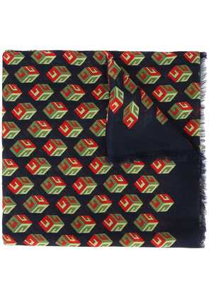 Gucci Wallpaper GG Print Cube Scarf - Blue