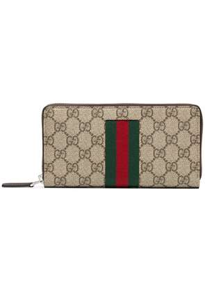 Gucci beige, green and red supreme zip around leather wallet - Nude &