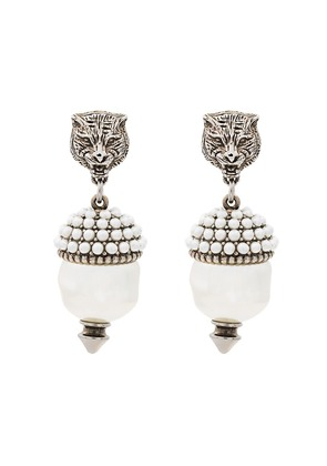 Gucci Feline Faux Pearl Earrings - Metallic