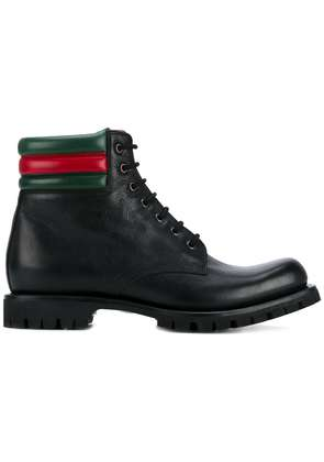 Gucci web detail military boots - Black