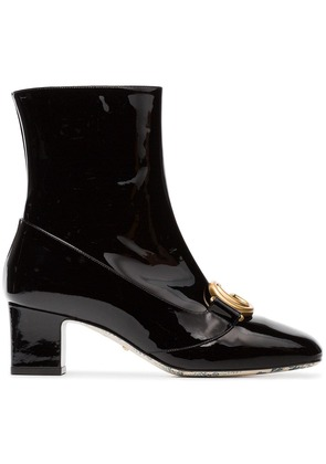 Gucci black Victoire 55 patent leather boots