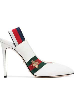 Gucci white Sylvie web leather slingback pumps