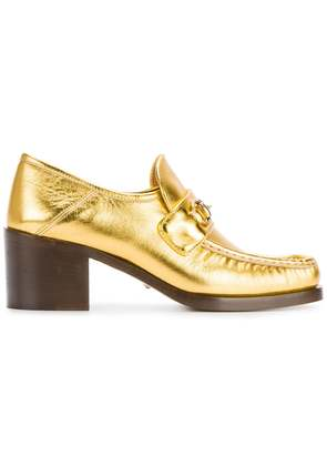 Gucci Gold Horsebit Loafer Heels - Metallic
