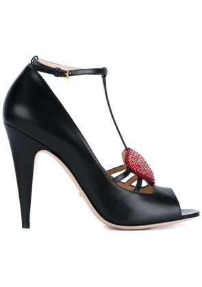 Gucci crystal heart pumps - Black