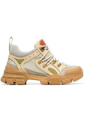 Gucci beige, green and brown flashtrek leather and mesh sneakers -