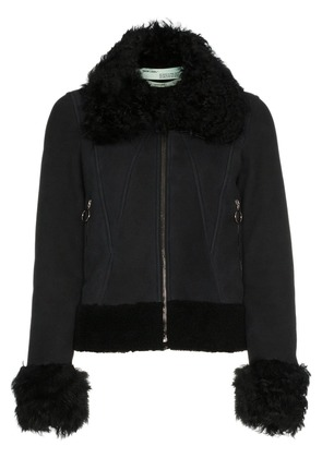 Off-White cropped shearling long sleeve coat - Black
