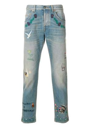 Gucci embroidered cotton jeans - Blue