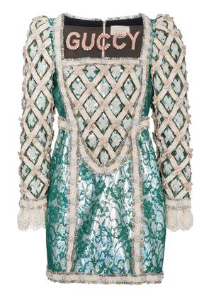 Gucci Pearl Embellished Guccy Silk Mini Dress - Green