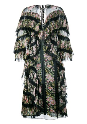 Gucci floral print silk ruffle dress - Black