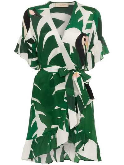 4c061d7e8a Adriana Degreas geometric foliage silk mini dress | Green ...