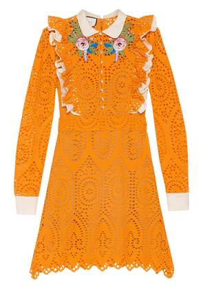 Gucci Broderie Anglaise cotton dress - Yellow & Orange